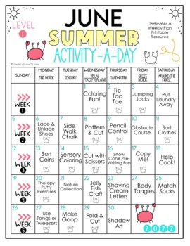 FREE! Summer Calendar: Preschool - Grade 1 (2018 Edition)