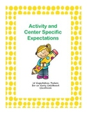 Activity and Center Specfic Expectations for Preschoolers