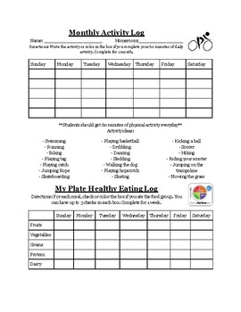 Activity and MyPlate Log