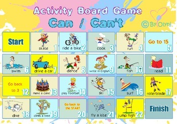 Activity board game CAN CAN'T