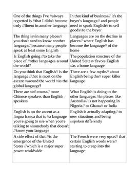 Activity for ESL speakers to practice phrasing