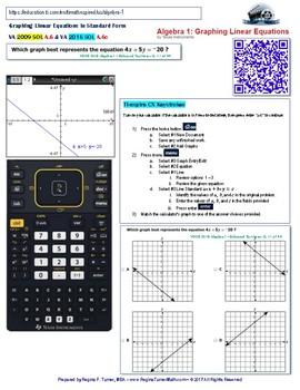 Activity for TI nspire A.02 & A.06c - Algebra I SOL