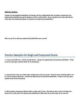 Activity for Theoretical and Experimental Probability of Compound Events