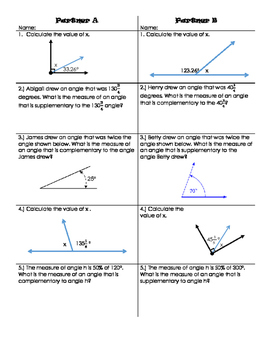 Activity on Complementary and Supplementary Angles