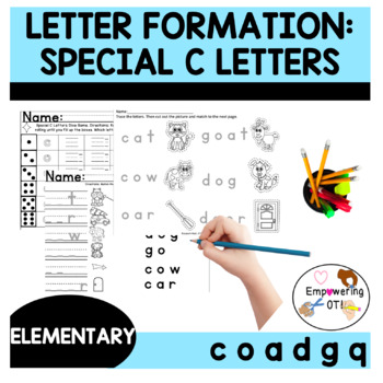 Activities for Special C letter formation practice (c o a d g q) ! SPED, OT
