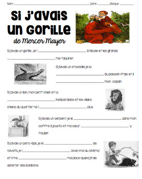 Activity/questions for SI J'AVAIS UN GORILLE--perfect practice for SI CLAUSES