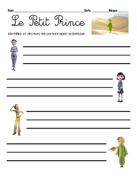 Activity/questions for the 2015 film, LE PETIT PRINCE / THE LITTLE PRINCE
