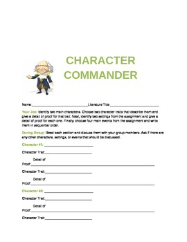 Activity sheets for Common Core Reading Standards for Literature