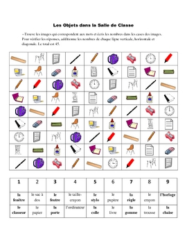 French Classroom Objects Activity Based on Sudoku