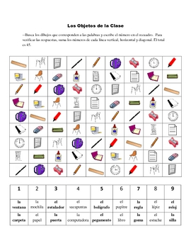 Spanish Classroom Object Activity Based on Sudoku