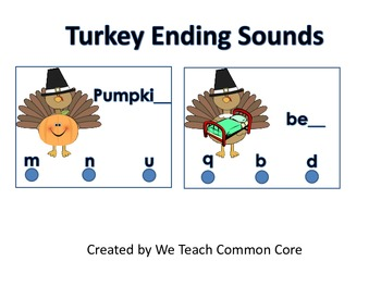 Activity with Ending Sounds and Turkeys for Literacy Center Daily 5