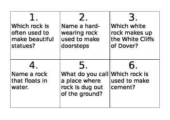 Activity (worksheet) to discover the uses and properties of rocks and soils
