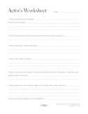 Actor's Character Worksheet