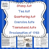 Acts and Taxes: Stamp Act, Tea Act, Coercive Act, Proclama