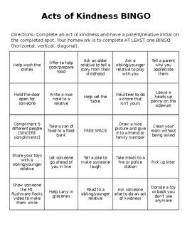 Acts of Kindness Bingo