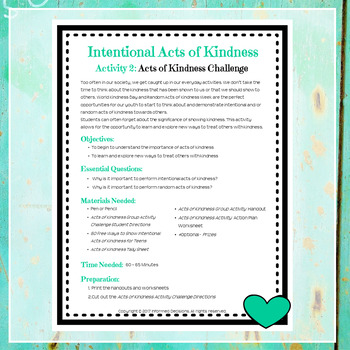 Intentional Acts of Kindness II Acts of Kindness Challenge