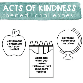 Acts of Kindness Challenge - Back to School Theme