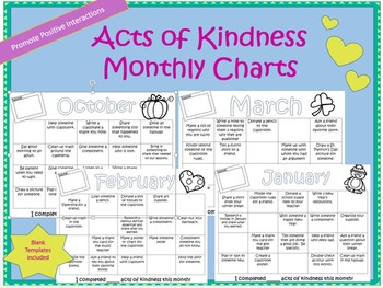Acts of Kindness Monthly Calendar:Positive Interactions and Behavior