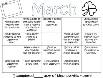 Random Acts of Kindness Monthly Calendar:Positive Interactions and Behavior