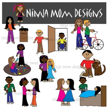 Acts of Kindness and Unkindness Clip Art in Color and Black Line