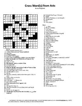 Acts of the Apostles Crossword,Cross Words,Bible Study,Sunday School,Bible