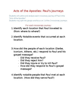 Acts of the Apostles: Paul's Journeys Project Worksheet