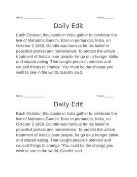 Actual daily edits