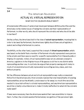 Actual vs. Virtual Representation Journey to Independence