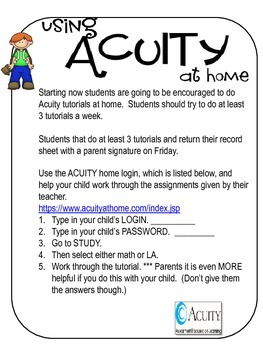 Acuity at Home (Handout to trach Acuity tutorial practice