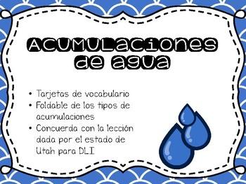 Acumulaciones de agua - Vocabulario y foldable