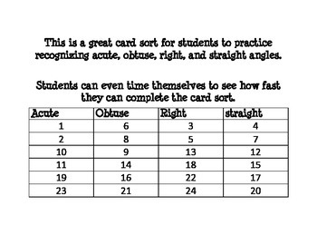 Acute, Obtuse, Right, and Straight Angle card sort