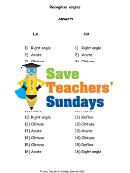 Acute, Obtuse and Right Angles (measuring) lesson plans, worksheets and more