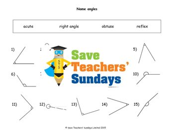 Acute, Obtuse and Right Angles Worksheets (4 levels of difficulty)