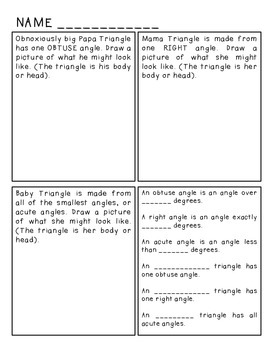 Acute, Right, Obtuse Triangle Fairytale and Worksheet
