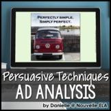Ad Analysis PPT - Persuasive Techniques - Includes Quiz variation