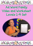 Ad Family Worksheet Set and Video Links for Levels 1-4