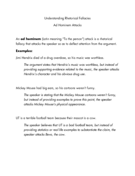 Ad Hominem notes