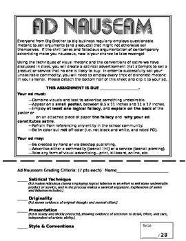 Ad Nauseam Satire Advertising Assignment for AP English Language
