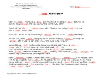 Christmas Ad-lib with Adjectives and Adverbs Silly Winter Story {Bell Ringer}