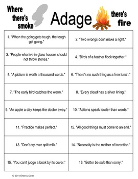Adage or Proverb Activities, Two of a Kind