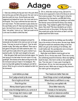 Adage or Proverb Writing Center Activity or Group Lesson CCS L4.5.b, L5.5b