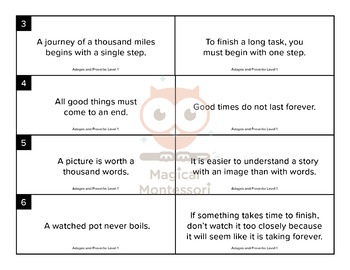 Adages and Proverbs Level 1