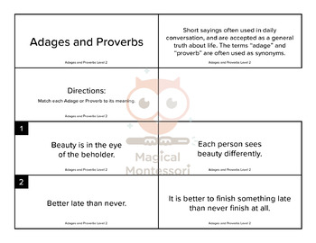 Adages and Proverbs Level 2