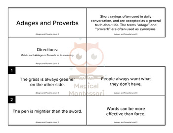Adages and Proverbs Level 3