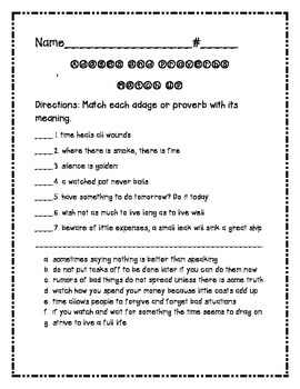 Adages and Proverbs Matching Worksheet
