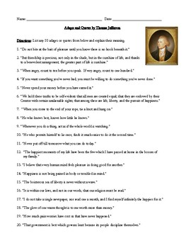 Adages and Quotes by Thomas Jefferson Worksheet or Homework Assignment