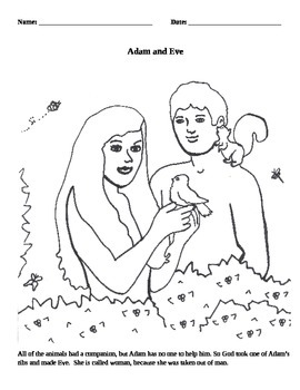 Adam & Eve Coloring Page Activity - In the Beginning - The Creation - Genesis