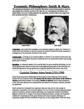 Adam Smith & Karl Marx, Economic Theories Capitalism & Communism