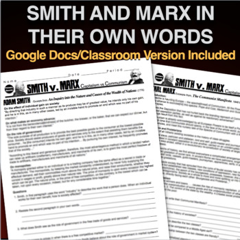 Adam Smith vs Karl Marx Primary Source Activity(Industrial Revolution)