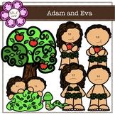 Adam and Eva Digital Clipart (color and black&white)